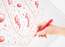 Hand drawing abstract sketches and doodles on paper Royalty Free Stock Photos