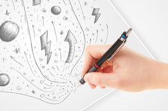 Hand drawing abstract sketches and doodles on paper Royalty Free Stock Photo