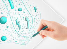 Hand drawing abstract sketches and doodles on paper Royalty Free Stock Image
