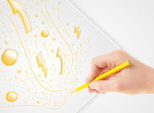 Hand drawing abstract sketches and doodles on paper Stock Images