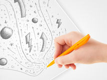 Hand drawing abstract sketches and doodles on paper Royalty Free Stock Photography