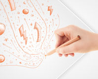 Hand drawing abstract sketches and doodles on paper Stock Image