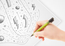 Hand drawing abstract sketches and doodles on paper vector illustration