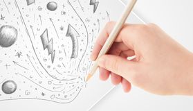 Hand drawing abstract sketches and doodles on paper royalty free illustration