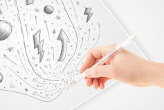 Hand drawing abstract sketches and doodles on paper stock illustration