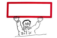 Hand drawing of an advertising character, cartoon character. Or line drawing. Cartoon figure holding up a white sign with red frame over the head Stock Images