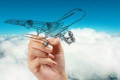 Hand drawing airplane Stock Photo
