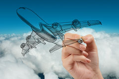 Hand drawing airplane on blue sky Royalty Free Stock Photos