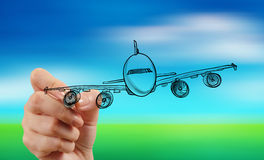 Hand drawing airplane on blur blue sky Royalty Free Stock Image