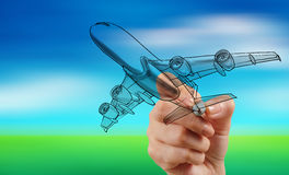 Hand drawing airplane on blur blue sky Stock Photography