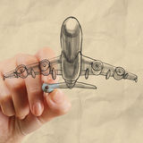 Hand drawing airplane with crumpled paper background Stock Images
