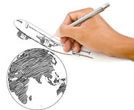Hand Drawing Airplane for travel around the world. Royalty Free Stock Photography