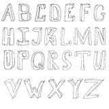 Hand drawing alphabet. Vector illustration set in black ink Royalty Free Stock Photos