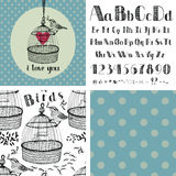 Hand drawing alphabet and birds Royalty Free Stock Photos