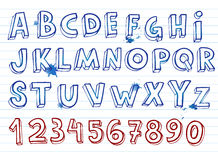 Hand drawing alphabet. Doodle hand written alphabet, unique font Royalty Free Stock Image