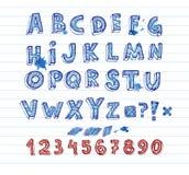 Hand drawing alphabet. Doodle hand written alphabet, unique font Stock Photography