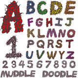 Hand drawing alphabet and numbers. Muddle doodle Stock Photography