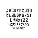 Hand drawing alphabet. A set of grunge simple letters and numbers Stock Photos