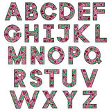 Hand drawing alphabet. Vector floral colorful hand drawing alphabet Stock Photos