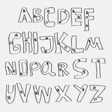 Hand drawing alphabet Vector. Illustration on light background Royalty Free Stock Photo