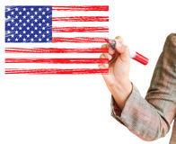 Hand drawing American flag Royalty Free Stock Images