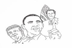 Hand drawing of american politicians stock illustration