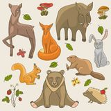 Hand drawing animals set Stock Images