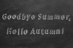 Goodbye Summer, Hello Autumn. Hand drawing and animated text `Goodbye Summer, Hello Autumn!` on blackboard. Stop motion animation royalty free illustration