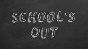 School`s Out. Hand drawing and animated text `School`s Out` on blackboard. Stop motion animation stock illustration