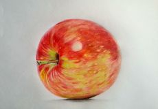 Hand drawing apple. Hand draw apple realistic colored pencils Royalty Free Stock Images