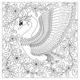 Hand drawing artistic Swan in flowers for adult coloring pages Stock Image