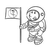 Hand drawing An Astronaut -Vector Illustration. Hand drawn sketch of Astronaut isolated, Black and White Cartoon Vector Illustration for Coloring Book - Line Royalty Free Stock Photo