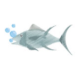 Hand drawing atun fish sealife food bubbles. Illustration eps 10 Royalty Free Stock Photo