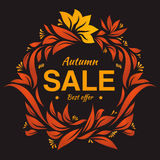 Hand drawing autumn floral label at dark backrop. Autumn sale. Dark colors drawing vector label four sale. Vintage colorful label stock illustration