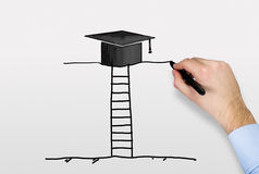 Hand drawing bachelor cap Royalty Free Stock Images