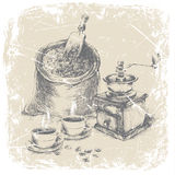 Hand drawing bag of coffee, vintage coffee grinder and two cups of coffee on the table, grunge frame, monochrome. ilustration Stock Photos