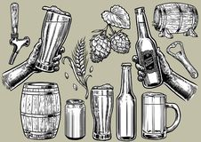 Hand drawing of beer objects in set stock illustration