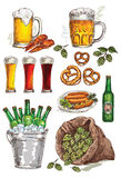 Hand drawing beer set Stock Photography