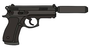 Handgun wit a silencer Royalty Free Stock Photography