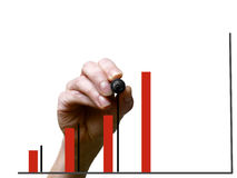 Hand drawing black line in graph with marker on transparent whit Royalty Free Stock Photos
