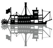 The vintage steam riverboat. The hand drawing of a black silhouette of the classic steam paddle riverboat vector illustration