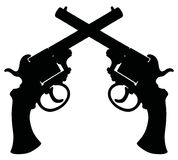Two vintage revolvers. Hand drawing of black silhouette of two vintage revolvers Royalty Free Stock Photography
