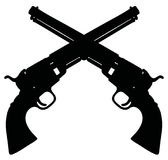 Classic wild west revolvers. Hand drawing of black silhouettes of two vintage wild west revolvers Stock Photography
