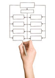 Hand Drawing Blank Organization Chart. Simas was drawn by hand for business organization Stock Photos