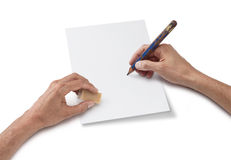 Hand Drawing Blank Sheet of Paper royalty free stock photography