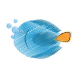 Hand drawing blue fish life exotic bubbles Royalty Free Stock Photos