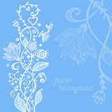 Hand drawing blue floral background Stock Images