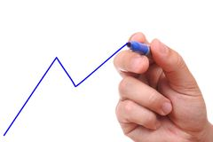 Hand drawing blue graph Stock Images