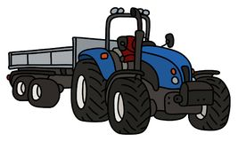 The blue tractor with a trailer. The hand drawing of a blue open tractor with a steel trailer stock illustration