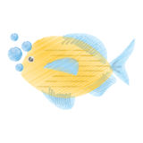 Hand drawing blue and yellow fish variety ocean bubbles. Illustration eps 10 Royalty Free Stock Photos